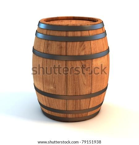 wine barrel over white background 3d illustration - stock photo