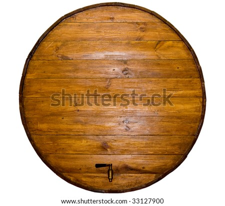 wine barrel with a  stopcock on a white background
