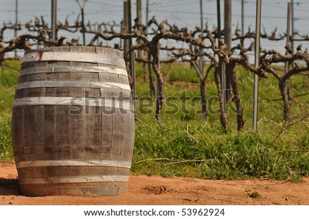 Wine Barrel with Vineyard in Background - stock photo