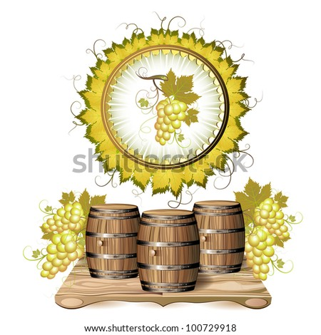 Wine barrel with white grapes - stock photo