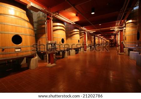 Wine Barrels at Napa Valley winery - stock photo
