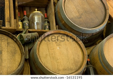 Wine barrels in tuscany