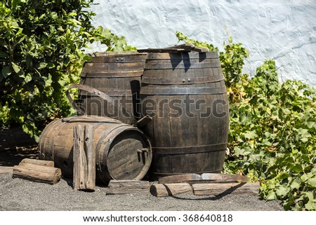 Wine barrels on background wall , Lanzarote; Canary islands. - stock photo