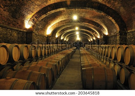 Wine barrels stacked in a cellar.  - stock photo