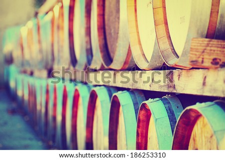 Wine Barrels Stacked in the Winery, Instagram Effect  - stock photo