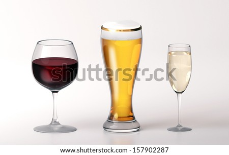wine beer champagne in glasses with isolated background