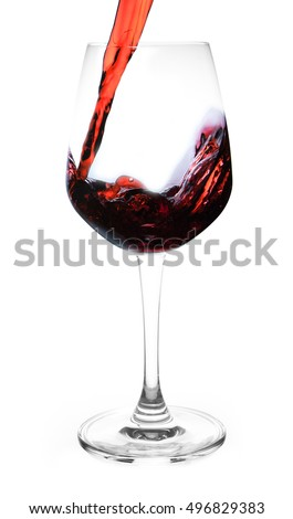 wine being pouring into a glass closeup wine splashing splash isolated