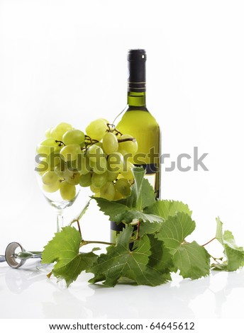 wine bottle and a grape