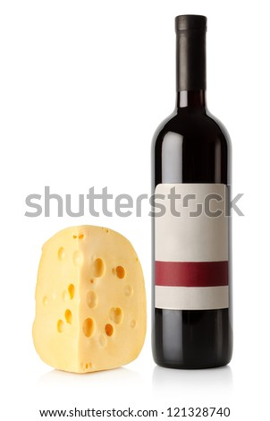Wine bottle and dutch cheese isolated on a white background - stock photo