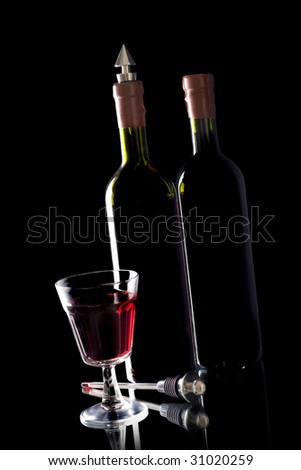 wine bottle and Glass of red wine