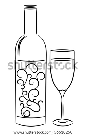 wine bottle and glass.raster - stock photo