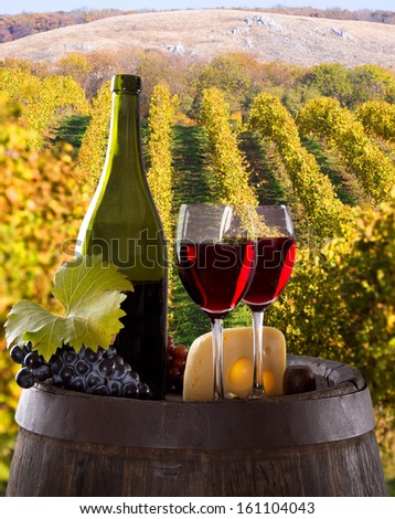Wine bottle and glasses with wodden barrel