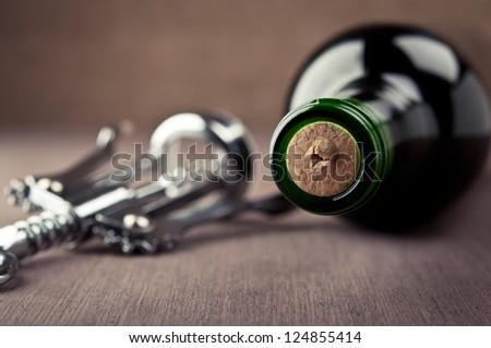 wine bottle and metal corkscrew - stock photo