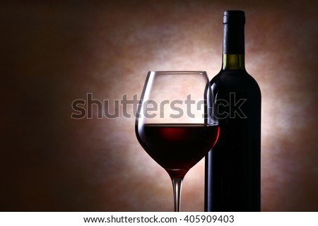 Wine bottle and red wine