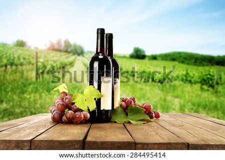 wine bottle and table of brown color