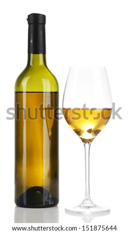 Wine bottle and wineglass with white wine, isolated on white - stock photo