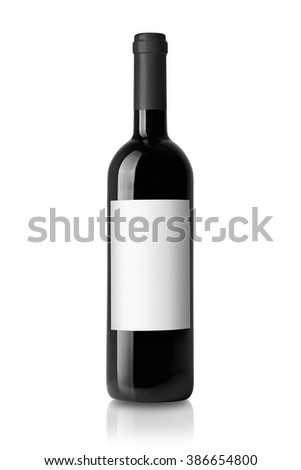 wine bottle black with label isolated on white background