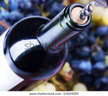 Wine Bottle closeup - stock photo