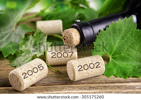 Wine bottle corks on table close-up - stock photo