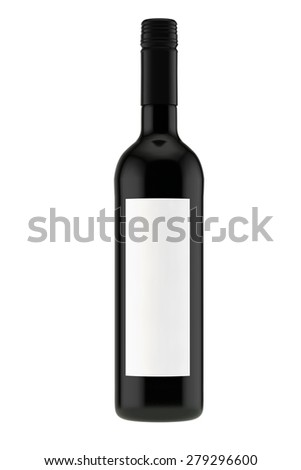 wine bottle from dark glass with a screw stopper - stock photo
