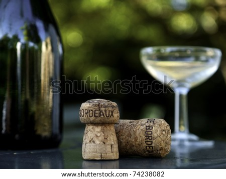 wine bottle, glass and cork in bordeaux france - stock photo