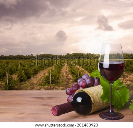 Wine bottle, glass and red grape on wineyard background
