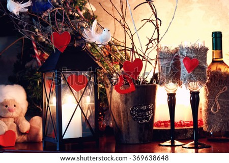 wine bottle glass valentine heart candle - stock photo