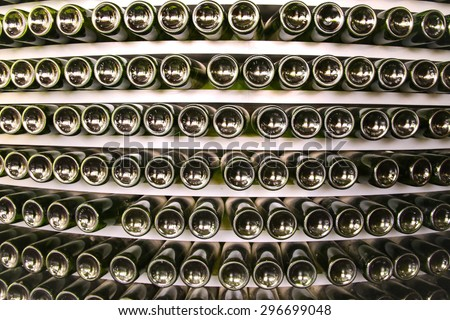 wine bottle in a row - stock photo