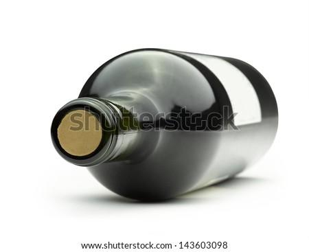 Wine bottle isolated on a white background - stock photo