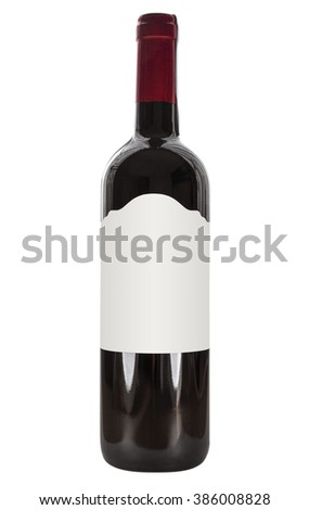 Wine bottle Isolated on white background with Clipping Path for your design.