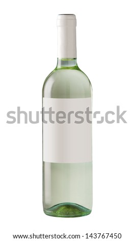Wine bottle isolated with blank label for your text or logo. - stock photo