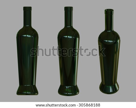 Wine bottle template. 3D render. Dark green glass simulated. Different angles. - stock photo