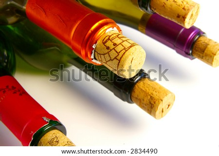 Wine bottle tops with corks, closeup - stock photo