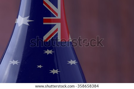 Wine bottle with Australia flag in strict close up, with copy space, horizontal image - stock photo