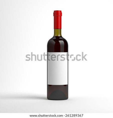Wine bottle with blank label
