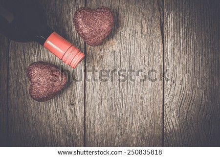 Wine Bottle with Hearts for Valentine's Day - stock photo