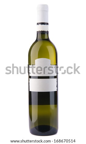 Wine bottle with label. Isolated on white. - stock photo