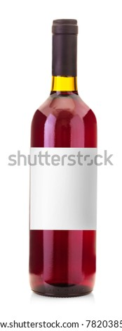 Wine bottle with label isolated on white