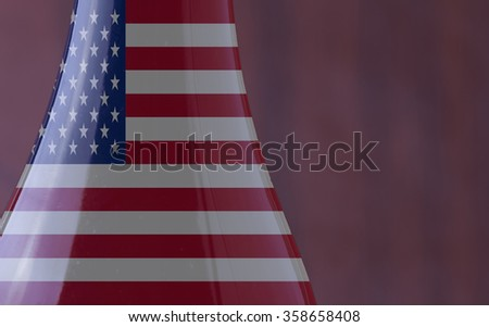 Wine bottle with USA flag in strict close up, with copy space, horizontal image