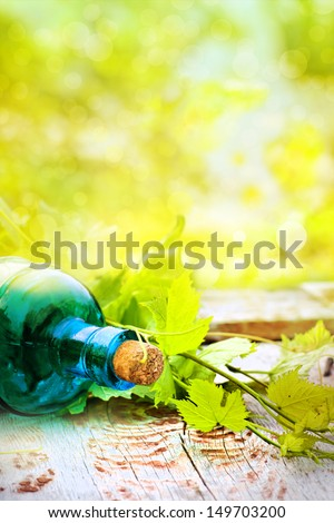 wine bottle with young vine green/ summer wine background