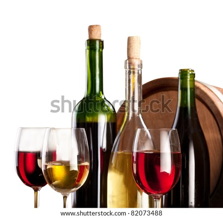 Wine bottles and glasses on a white background. The file contains a path to cut. - stock photo