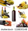 wine bottles and grapes collage - stock photo