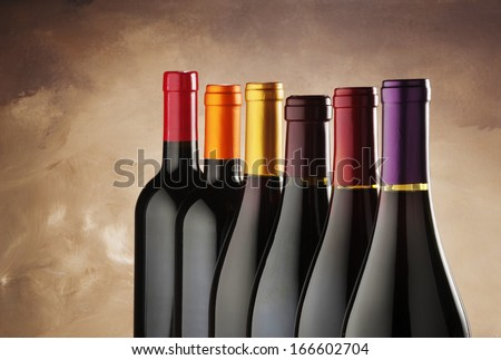 wine bottles in a row  - stock photo