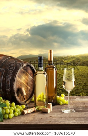 Wine bottles with barrel still life and lush natural landscape on background with vineyards. - stock photo