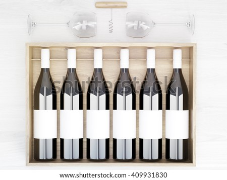 Wine bottles with blank labels in wooden box placed on light table with wine glasses and corkscrew. Topview. Mock up, 3D Rendering - stock photo