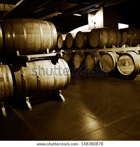 Wine cellar with many wine barrels.