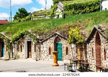 Wine cellars in village Kobyli, southern Moravia, Czech Republic - stock photo
