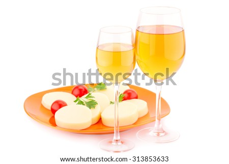Wine, cheese and tomatoes isolated on white background.