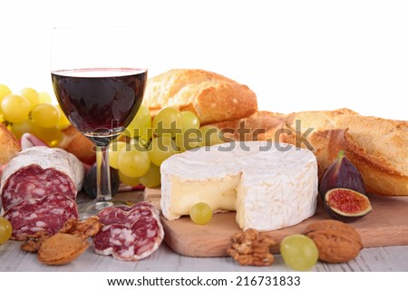 wine,cheese, sausage and bread