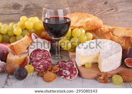 wine,cheese,sausage and bread